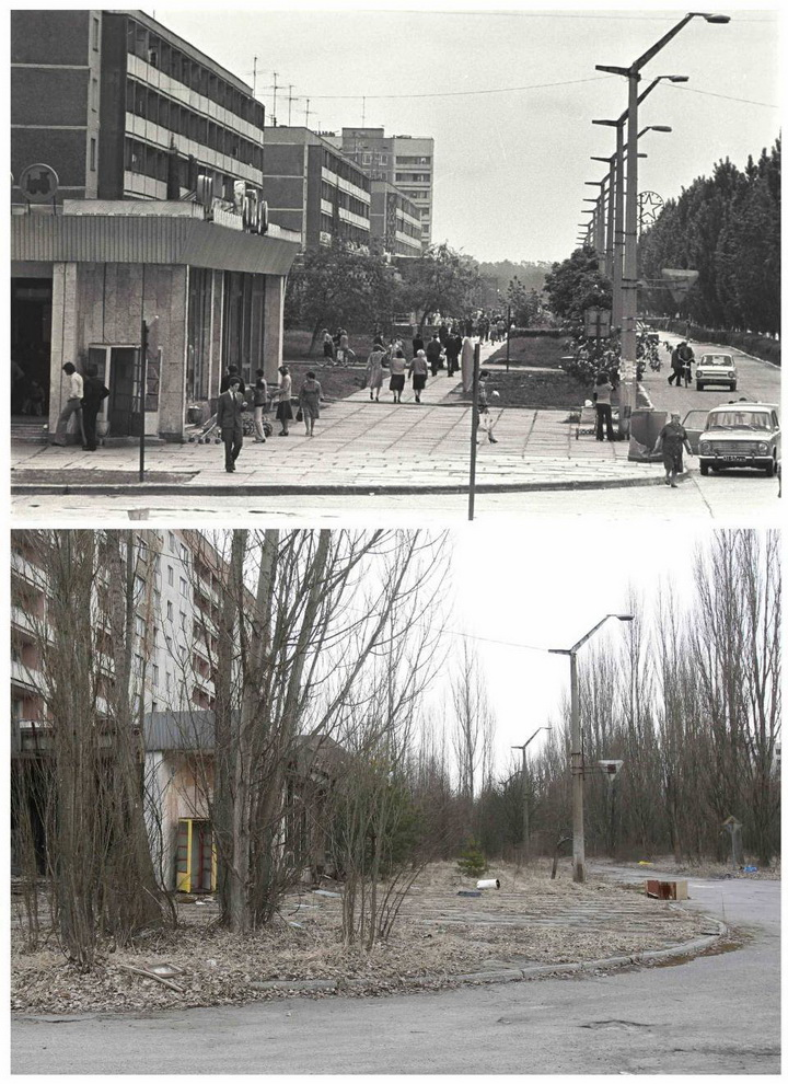 A combination of images, taken in 1982 and on March 31, 2011 (bottom), shows the before and after view of the abandoned city of Prypiat near the Chernobyl nuclear power plant. Belarus, Ukraine and Russia will mark the 25th anniversary of the nuclear reactor explosion in Chernobyl, the place where the world's worst civil nuclear accident took place, on April 26. REUTERS/Vladimir Repik and Gleb Garanich (UKRAINE - Tags: ANNIVERSARY DISASTER ENERGY ENVIRONMENT)