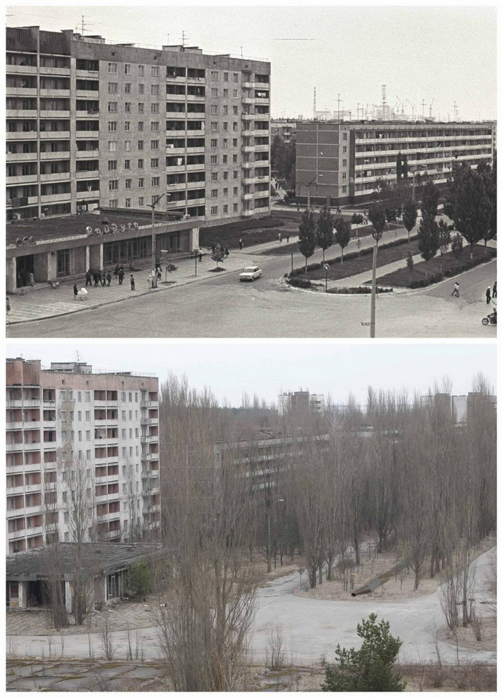 A combination of images, taken in 1982 and on April 7, 2011, shows before and after view of the abandoned city of Prypiat near the Chernobyl nuclear power plant. Belarus, Ukraine and Russia will mark the 25th anniversary of the nuclear reactor explosion in Chernobyl, the place where the world's worst civil nuclear accident took place, on April 26. REUTERS/Vladimir Repik and Gleb Garanich (UKRAINE - Tags: ANNIVERSARY DISASTER ENERGY ENVIRONMENT)