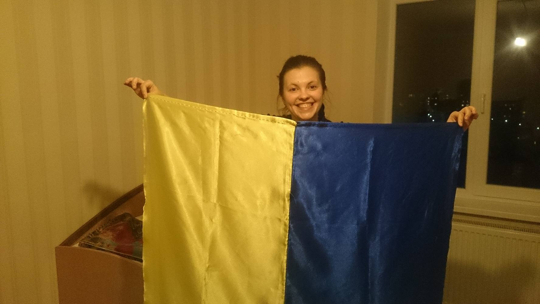 З цим прапором Олеся ходили на мітинги в Донецьку