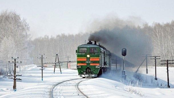 поїзд потяг зима
