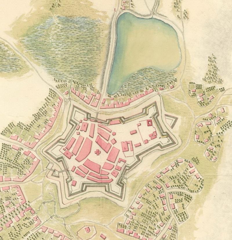 Фрагмент мапи Станиславова 1800 року